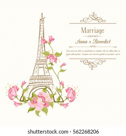 Фотообои Eiffel tower icon with spring blooming flowers with frame The Marriage of Anna and Benedict. Vector illustration.