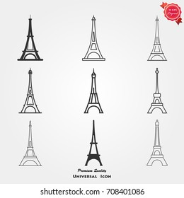 Eiffel tower icons vector