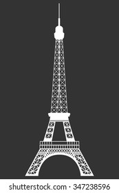 Eiffel Tower. Isolated object on a black background.