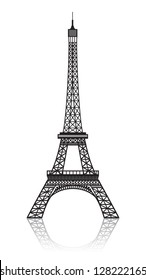 Eiffel tower isolated on white with reflection.