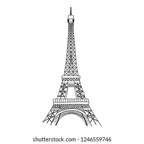 Eiffel tower isolated vector illustration. Paris icon.