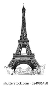 Eiffel tower isolated, very detailed - vector illustration