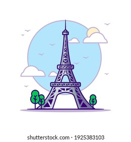 Eiffel Tower Landmarks Vector Icon Illustration in Flat Cartoon style for Web Landing Pages with Banner or Sticker and Background