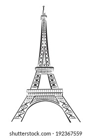 Eiffel Tower Line Art Vector. Isolated on White background.