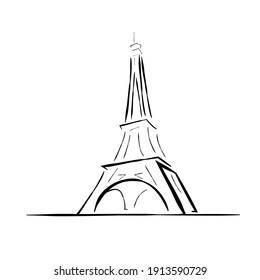 Eiffel Tower Line Drawing Minimalist Style. Modern Minimal Print. Eiffel Tower Trendy Illustration Line Art Design. Fashion Minimal Print. Travel Logo. Vector EPS 10