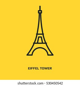 Eiffel Tower logo graphic design concept. Editable element, can be used as logotype, icon, template in web and print. Thin line icon. Black Flat iron building. France capital iron structure.