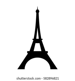 Eiffel Tower logo icon. Old style. Symbol french, Paris, holiday, travel tour. Black silhouette tall building Eifel Tower isolated white background. Modern architecture design Vector illustration