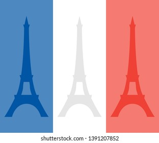 Eiffel tower on the background of the colors of the French flag. Vector concept for Bastille day