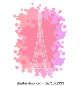 the Eiffel tower on a beautiful pink background.