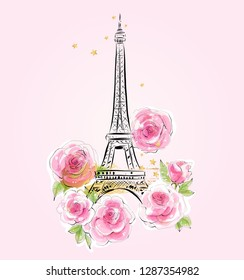 Eiffel Tower on the pink background with rose flowers hand drawn vector illustration. France, Paris romantic art design. Fashion print.
