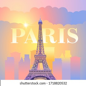 Eiffel Tower in Paris. Evening Paris. Sunny sunset in France against the backdrop of the city. Vector illustration