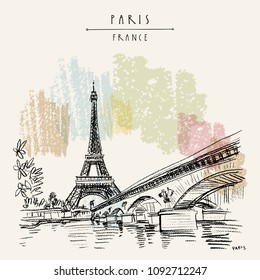 Eiffel Tower in Paris, France. Bridge and water. Hand drawing in retro style. Travel sketch. Vintage hand drawn touristic postcard, poster or book illustration in vector