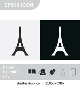 Eiffel Tower, Paris. France. Flat black and white vector illustration. Tower icon.