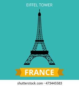 Eiffel Tower, Paris. France. Flat Vector illustration.