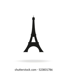 Eiffel Tower, Paris. France flat vector illustration. Tower icon isolated on white background.
