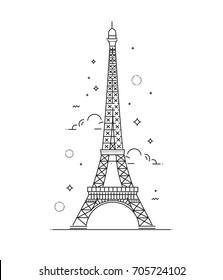 Eiffel Tower, Paris. France. Flat illustration. Tower icon.
