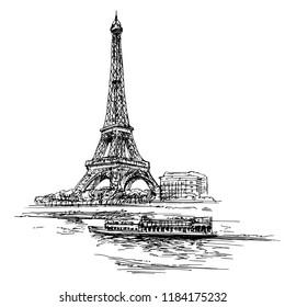 Eiffel tower. Paris, France. Hand drawn illustration.