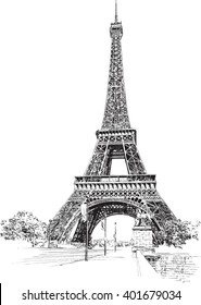 Eiffel Tower, Paris, France. Hand drawing, vector illustration.