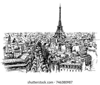 Eiffel tower, Paris, France. Hand drawn vector illustration.