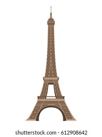 Eiffel Tower, Paris, France. Isolated on white background vector illustration.