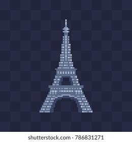 Eiffel Tower in Paris, France. Pixel art icon. 8-bit. Travel logo. Isolated vector illustration. Sticker design.