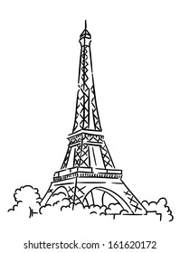Eiffel tower in Paris, France. Sketch vector illustration. Jpeg version also available in gallery