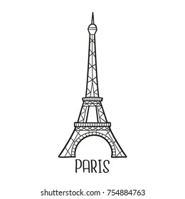 Eiffel Tower Paris France Traditional Doodle Icons Sketch Hand Made Design Vector