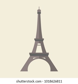 Eiffel Tower in Paris, France. Vector illustration or icon in a flat style. This is a famous architecture in the world.