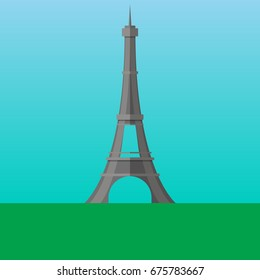 Eiffel Tower in Paris, France vector illustration. Flat style icon. Most famous world landmark. Travel flat design vector graphics