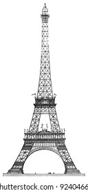 Eiffel tower in Paris (France) / vintage illustration from Meyers Konversations-Lexikon 1897