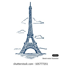 Eiffel tower in Paris. Hand drawn sketch illustration isolated on white background