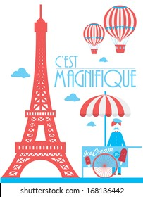 eiffel tower paris ice cream cart hot air balloon vector/illustration