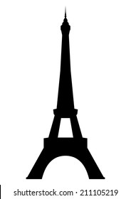 Eiffel tower in Paris. Isolated on white background. Vector EPS10.