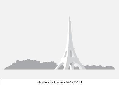 Eiffel Tower. Paris. Label drawing. EPS10.