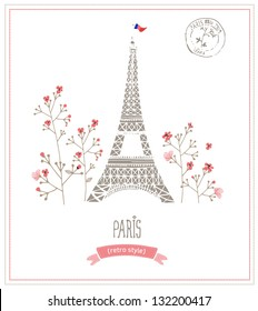 Eiffel tower in Paris, post card