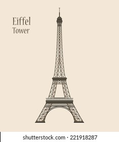 Eiffel Tower in Paris - Silhouette Vector Illustration