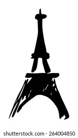 Eiffel Tower, Paris, stylization, abstraction, line, france, black and white