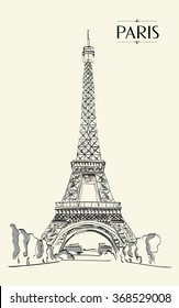 Eiffel Tower Paris. Vector illustration, vintage sketch style