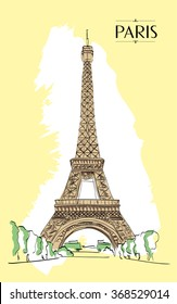 Eiffel Tower Paris. Vector illustration, vintage sketch style