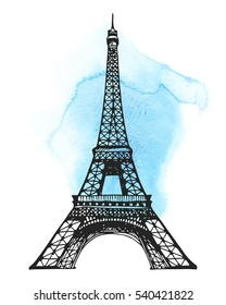 Eiffel Tower in Paris vector illustration, hand drawn famous french landmark silhouette on a watercolor stain background, paper texture, template for design