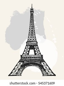 Eiffel Tower in Paris vector illustration, hand drawn famous french landmark silhouette on a watercolor splashes background