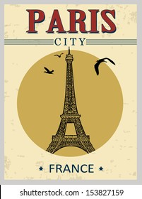 Eiffel Tower tower from Paris in vintage style poster, vector illustration