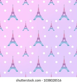Eiffel Tower pattern on pastel color background