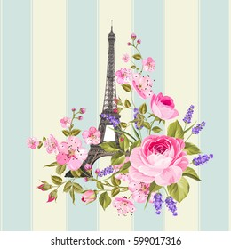 Eiffel tower post card design. Template of vintage post card with eiffel tower and flowers. Vector illustration.