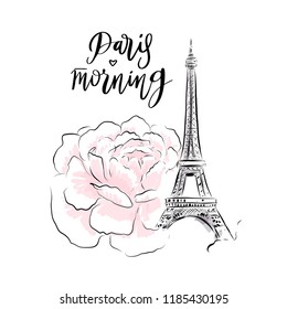 Eiffel Tower with rose flower vector illustration for card design. Romantic morning in Paris, France fashion sketch.