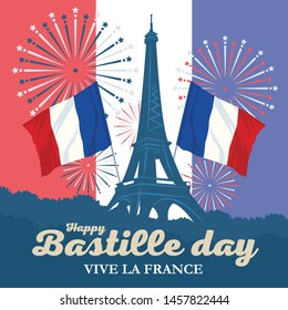 Eiffel Tower, salute and flags. French National Day. Happy Bastille day. Creative vector Illustration, card, banner or рoster.