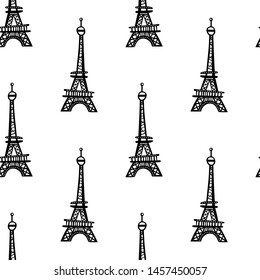 Eiffel Tower. Seamless vector pattern (background, print).