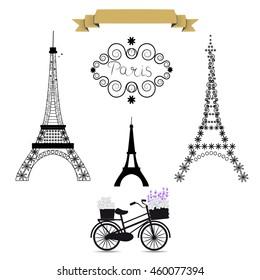 Фотообои Eiffel tower set. Set - vector stock.