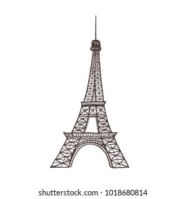 Eiffel tower, sight of Paris. Isolated on the white background.