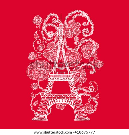 eiffel tower silhouette flowers woman beauty stock vector royalty